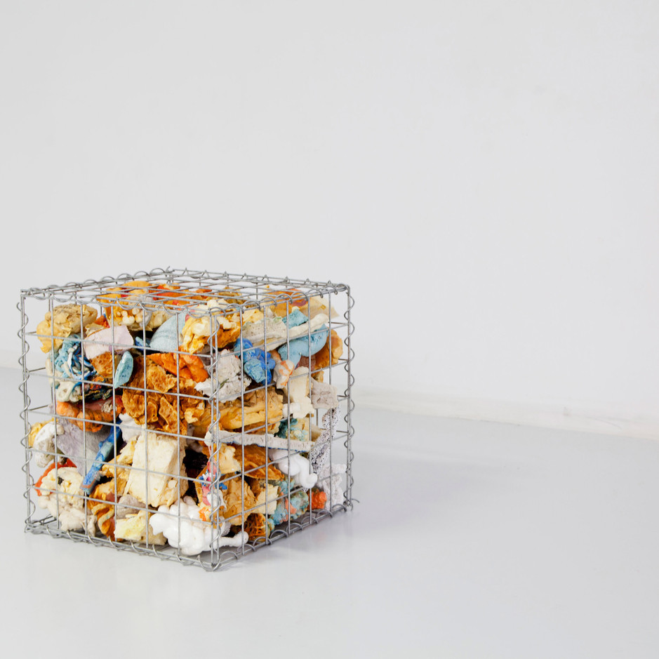 Gabian Version One, found objects, studio debris, steel, 18 x 18 x 18 inches, 2018.