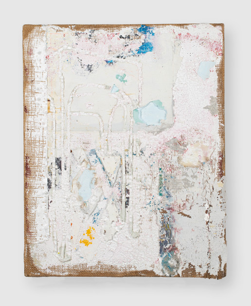 On DP (Nachleben), 2021, oil, acrylic, marble dust and gesso on burlap. 20 x 16 inches (50.8 x 40.64 cm)