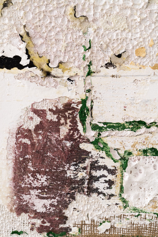 Here to Go (SMN Post Flood) (detail), 2021, oil, acrylic, gesso and insulation foam on burlap, 20 x 16 inches (50.8 x 40.64 cm)