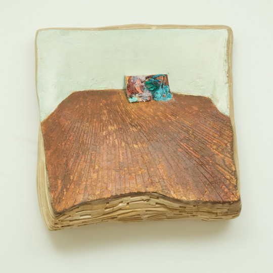Painting on a Floor (The Oldest), oil on wood, approximately 21½'' x 21½'' x 8½'', 2009