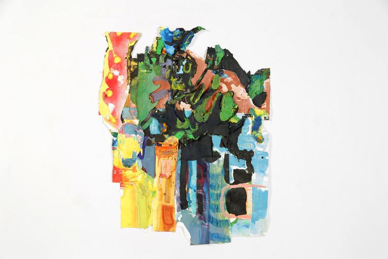 """Roper II, Oil on Paper, 46 x 30 x 2"""", 2018."""