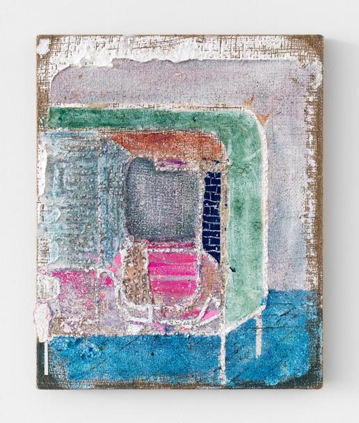 Sweat Box Bath, 2021, acrylic and oil on burlap, 20 x 16 (50.8 x 40.64 cm)