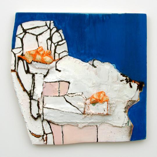 "Barer (Airer), Oil, marble dust, insulation foam on board, 24½ x 25 x 4"", 2014."