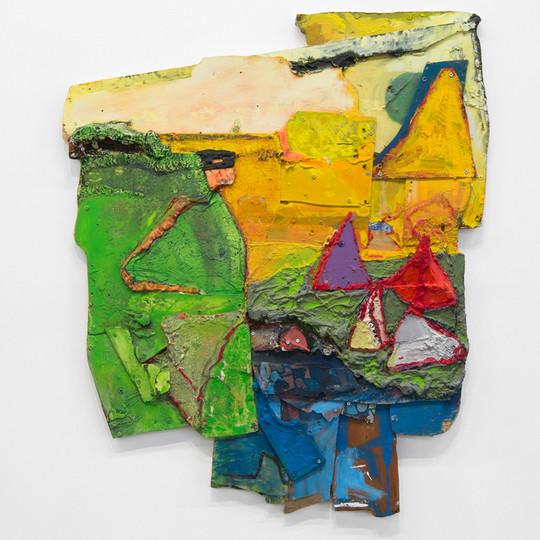 "Segue Spoke Thus, Oil and insulation foam on board,  44 x 38 x 4"", 2016."