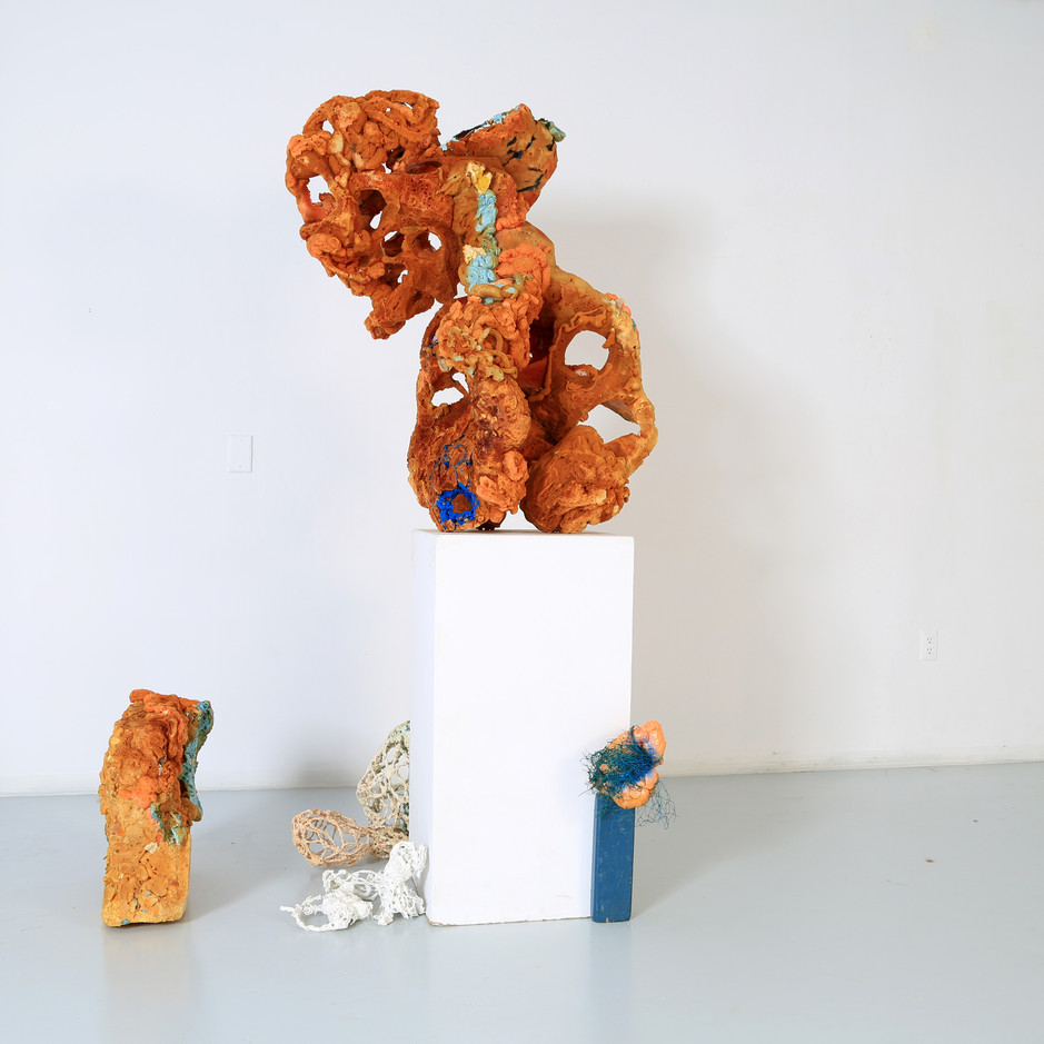 FRNKS Vertebrate, 2nd Digit of index Finger, WBCs, and Glands, studio debris (insulation foam, polystyrene, latex, wood), maximum dimensions vary, 2008-2018 (ongoing).