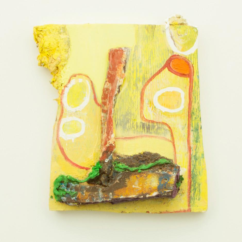 "Umbris Idearum, Oil and insulation foam on board, 18¼ x 14½ x 5"", 2014."