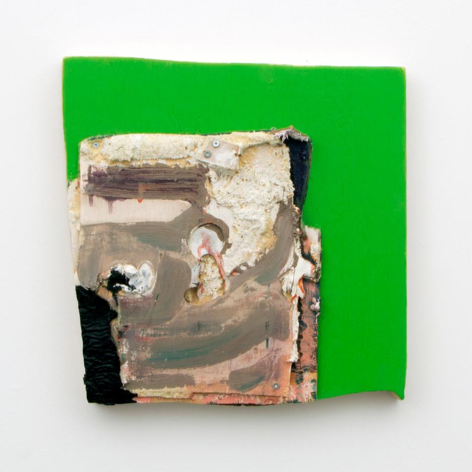 """Greenerscreener, Oil and insulation foam on board, 16½ x 17 x 2"""", 2014."""