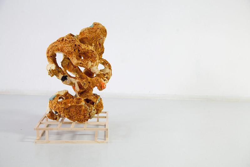 FRNKS Liver, studio debris (insulation foam, polystyrene, latex) maximum dimensions 46 x 20 x 20 inches, 2008-2018 (ongoing).