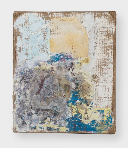 Miss Quickbring (Schifanoia), 2021, oil, acrylic, marble dust, gesso and digital image transfer on burlap, 12 x 10 inches (30.48 x 25.4 cm)