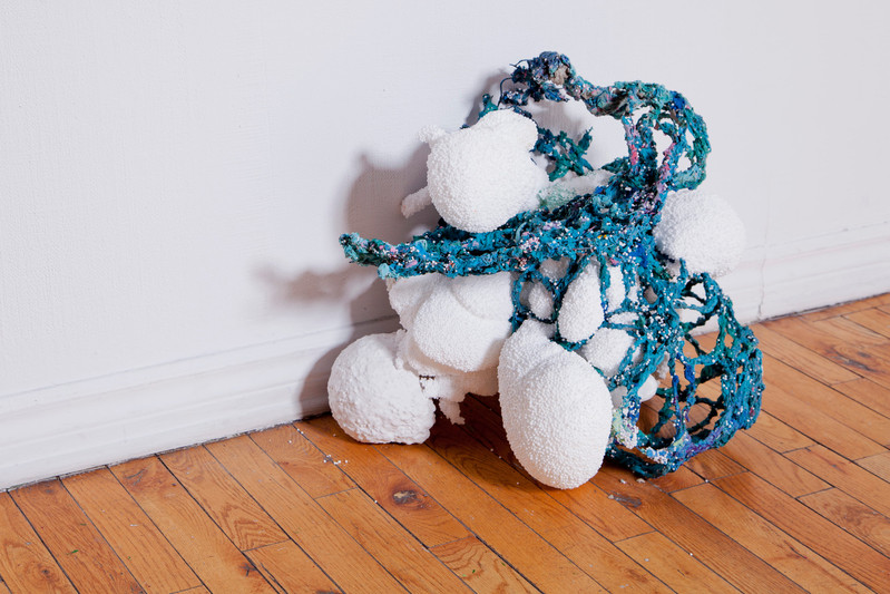 FRNKS Spleen, studio debris (wire, marble dust, oil paint, insulation foam, polystyrene), maximum dimensions 24 x 21 x 17 inches, 2008-2018 (ongoing).
