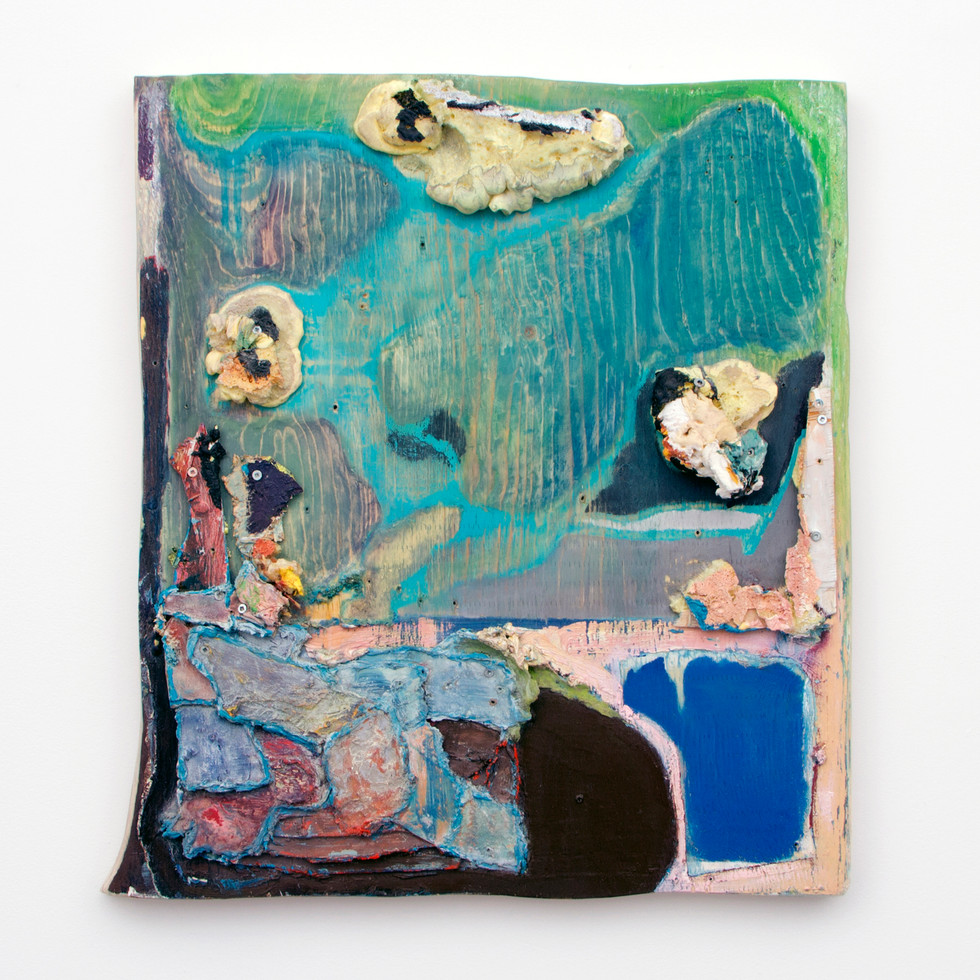 "Two Fish, Oil and insulation foam on board, 26½ x 24¼ x 4"", 2014."