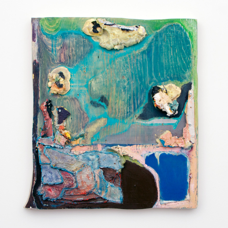 """Two Fish, Oil and insulation foam on board, 26½ x 24¼ x 4"""", 2014."""