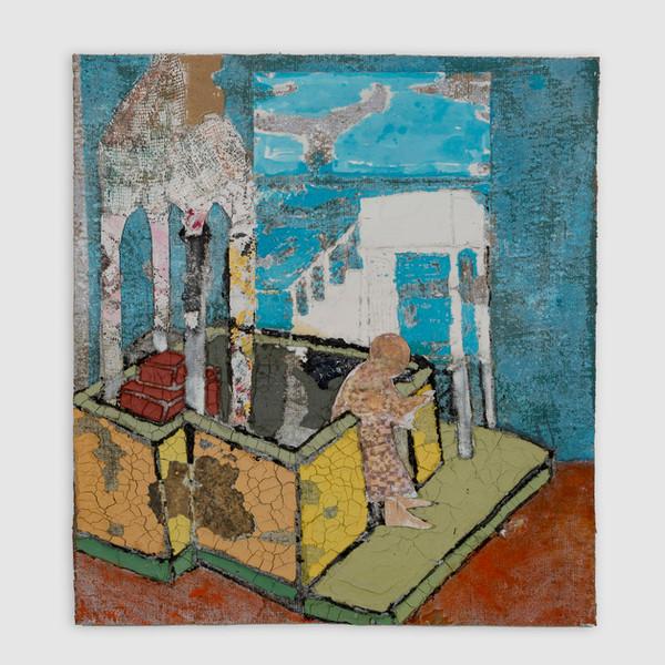 "Baldachin Joachim, oil, acrylic, marble dust and paper on burlap, 52 x 22"", 2020."