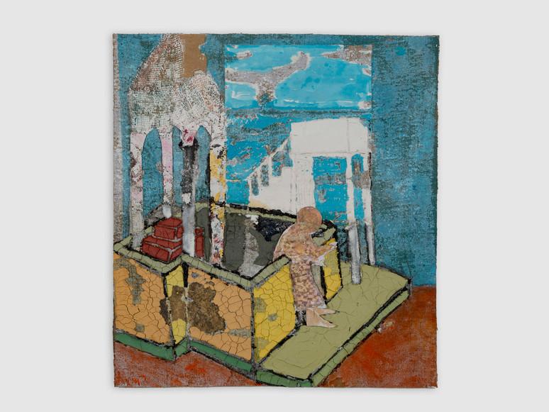"Baldachin Joachim, oil, acrylic, marble dust and paper on burlap, 52 x 22"", 2020"