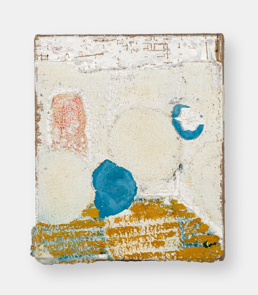 Loci (Memory Room), 2021, oil, acrylic, gesso and marble dust on burlap, 12 x 10 inches (30.48 x 25.4 cm)