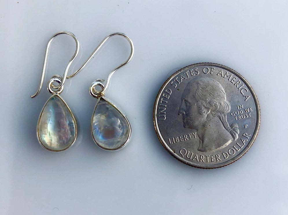 Rainbow Moonstone Earrings Set In Sterling Silver Stonesinharmony