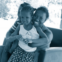 Clauricianne and young resident student Arianne.