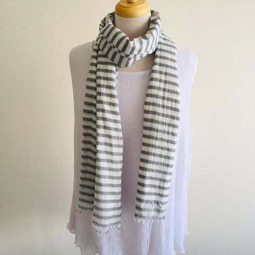 Cotton Scarf - Narrow Grey Stripe