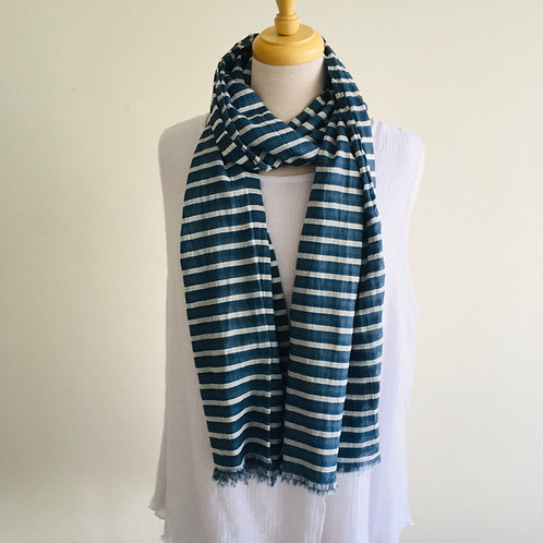 Cotton Scarf - Wide Navy Stripe