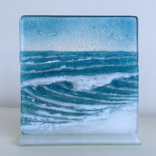15cm Fused Glass 'Wave' Panel