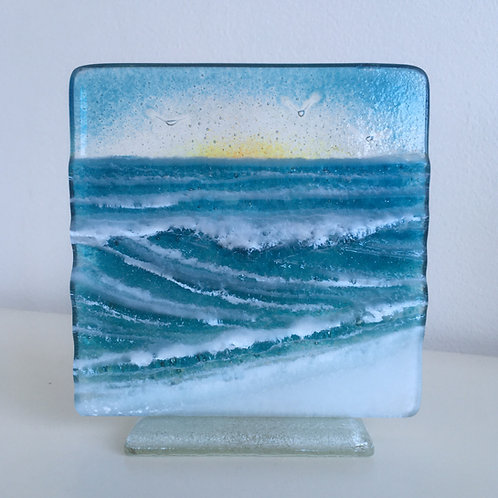 12cm Fused Glass 'Wave' Panel