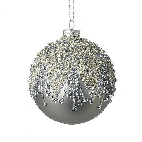 Grey Glass Ball Tree Decoration