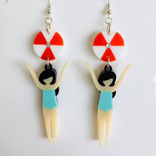Acrylic 'Beach Girl' Earrings