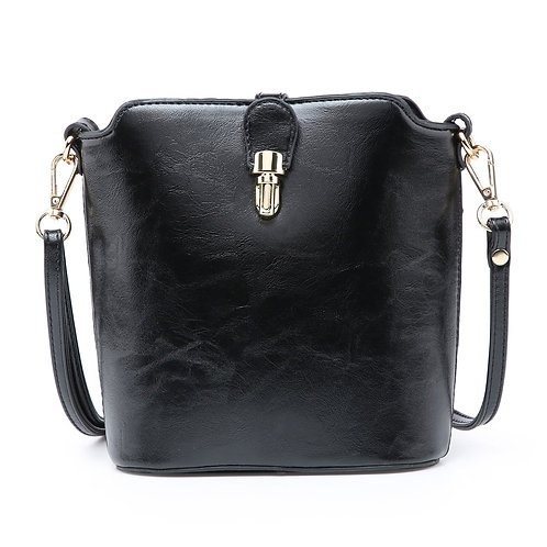 Leather Look Cross-Body Bag (black)