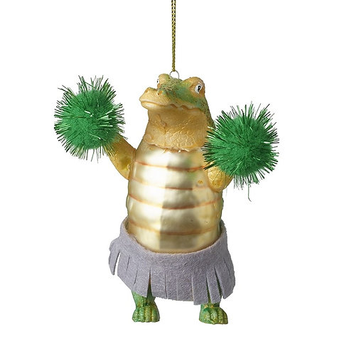 'Cheerleader Crocodile' Glass Tree Decoration