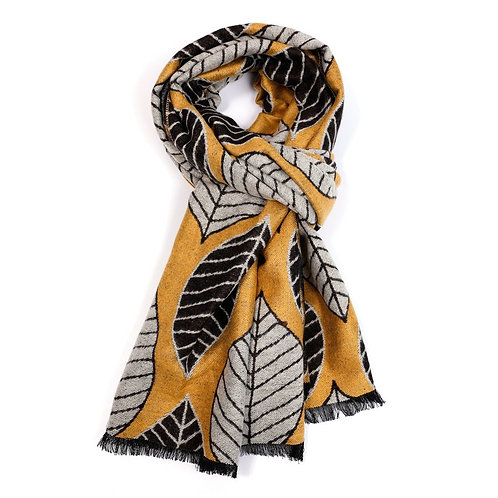 Mustard and Grey Scarf, Terry Fabric.