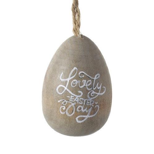 Hanging wooden Egg - Lovely Easter Day.