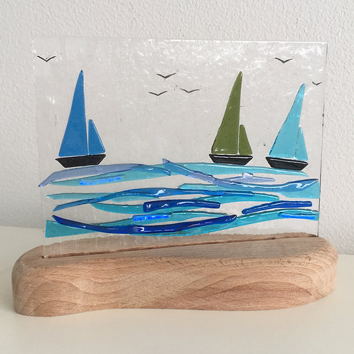 Fused Glass Panel - Yacht (triple)