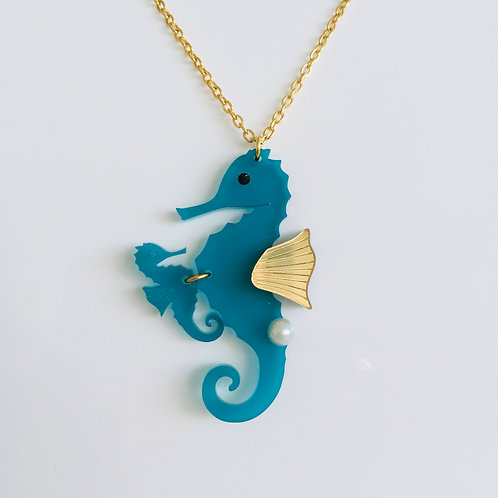 Acrylic 'Seahorse with a Baby' Necklace