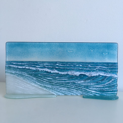 40cm Fused Glass 'Wave' Panel
