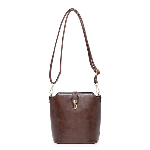 Leather Look Cross-Body Bag (Brown)