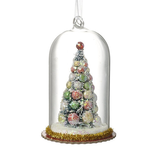 'Glass Dome with Christmas Tree' Decoration