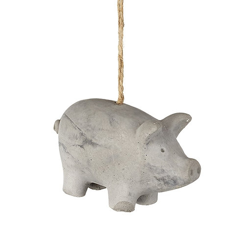 Hanging Grey Cement Piglet.