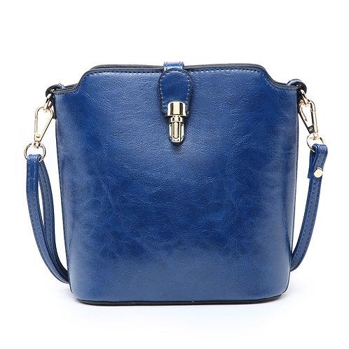 Leather Look Cross-Body Bag (navy)