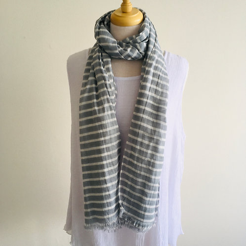Cotton Scarf - Wide Grey Stripe