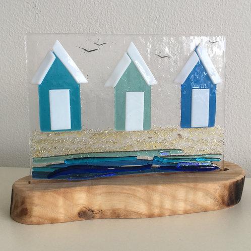 Fused Glass Panel - Beach Hut (triple)