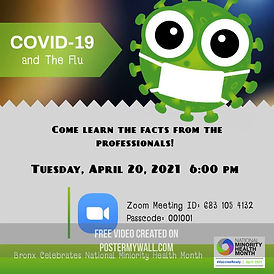 Covid & flu Workshop flyer with Zoom Link, in English