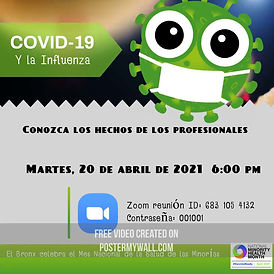 Covid & flu Workshop flyer with Zoom Link, in Spanish