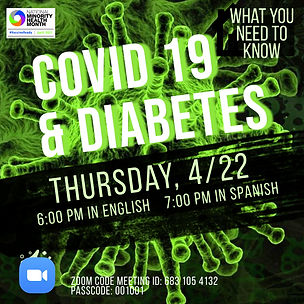 Covid & Diabetes Workshop flyer with Zoom Link, in English