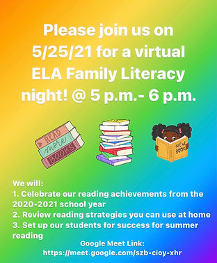 information about family literacy night, images of books