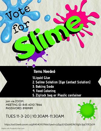 Slime Workshop, materials needed, workshop information