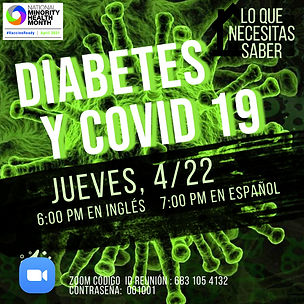 Covid & Diabetes Workshop flyer with Zoom Link, in Spanish
