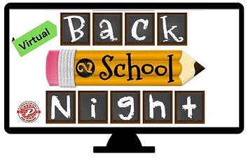 Computer showing the text 'Virtual Back to School Night'