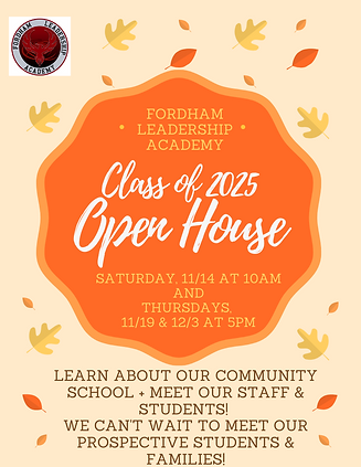 Fordham Leadership Academy Open House flyer