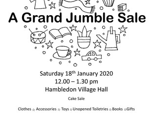 Why not pick up a bargain at our Annual Jumble Sale on Saturday 18th January 2020. Sponsored by The