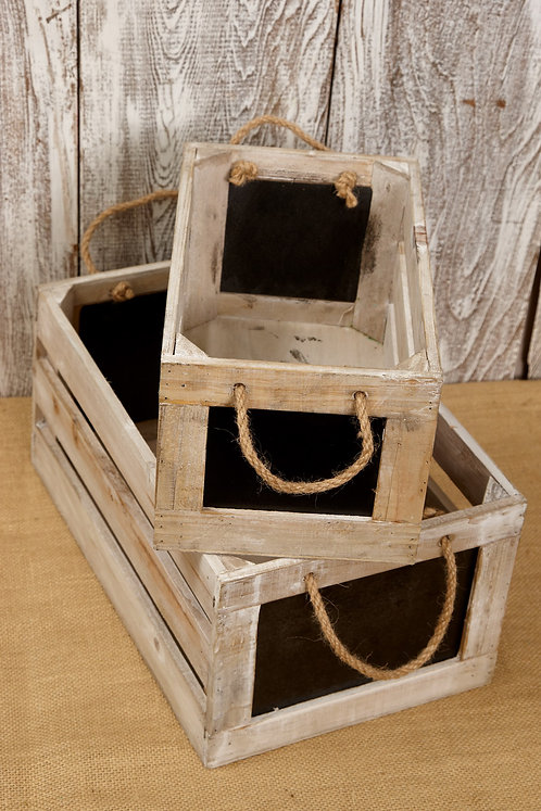 Set of two large chalkboard storage crates